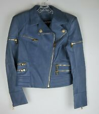 Balmain Paris Blue Lambskin Jacket Gold Tone Zippers & Two Lion Head Buttons