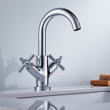 Modern Bathroom Taps Chrome Cross Head Basin Mono Bloc Sink Mixer Tap Cloakroom