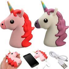 Banco de Alimentación Cargador Portátil Batería Externa Universal Micro Cable forma de unicornio