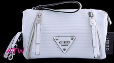 NWT GUESS PRESLEY QUILTED FAUX LEATHER ZIPPER POCKET CROSSBODY BAG PURSE WHITE