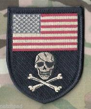 DAESH WHACKER US GREEN BERETS SAS JTF2 SKS vel©®Ø SHIELD PATCH: US Flag Skull