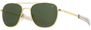AO Newly Updated Original Pilot Gold Frame True Color Green Glass Sunglasses