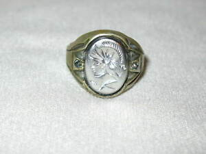 VINTAGE MENS NICKEL SILVER HAND MADE CAMEO ROMAN HEAD RING RHINESTONE 9.50-9.75