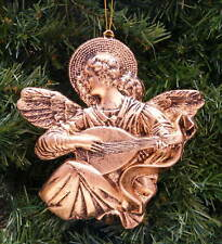 ANTIQUE GOLD ANGEL PLAYING LUTE CHRISTMAS ORNAMENT
