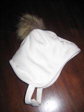 Lands' End Cold Weather Cap White Fleece Faux Fur Pom Pom Baby Size S