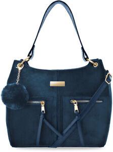 klassische Damen Schultertasche Damentasche Wildleder Optik mit Pompon dunkel bl