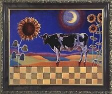 Country Cow and Sunflowers Floral Cow Bathroom Wall Art Decor Framed Picture