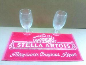 Stella artios lager bar towel with 2 pint glasses beer pub home mat man cave *