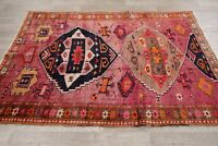 Vintage Oriental Geometric Lori Wool Hand-Knotted Area Rug Pink Carpet 5' x 7'