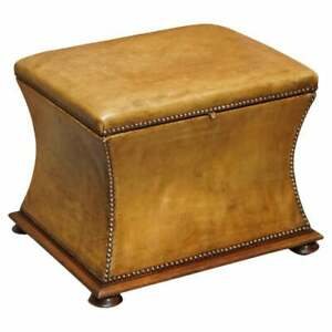 EXQUISITE VICTORIAN CIRCA 1860 TAN BROWN LEATHER OTTOMAN STOOL FOOTSTOOL STORAGE