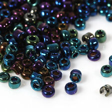 50g Size 11/0 2mm Glass Seed Beads Various Colours AB Silver Lined Pearl Ceylon