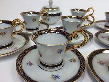 Servizio Caffè per 8  SAXE  Porcellana-Bordi Blu Cobalto Decori Oro Vintage