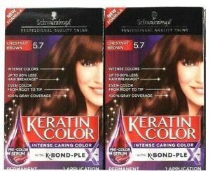 (2) Schwarzkopf Keratin Color 5.7 Chestnut Brown K Bond PLE Caring Permanent Dye