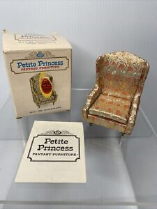 VINTAGE DOLLHOUSE FURNITURE IDEAL PETITE PRINCESS SALON WING GOLD CHAIR IN BOX
