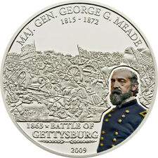 G.Meade - Gettysburg  Great Commanders&Battles 5$ Cook Island Silver Coin 2009