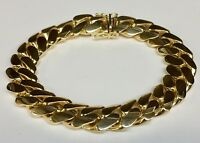 "14k Solid Yellow Gold  Miami Cuban Curb Link Bracelet 9.25"" 128 grams 14MM"