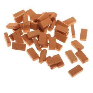 50 Packs Realistic 1/16 Mini Clay Red Brick Scenery Decoration Accessories