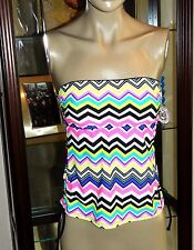 NEW $32.00 WOMENS S O MULTI COLOR RUCHED SIDE TANKINI TOP SIZE XSMALL