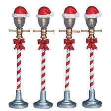 Lemax Decoration, Santa Hat Street Lamp, Christmas Decorating, Lighted Set of 4