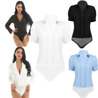 Women Formal Work Bodysuit Button Down Top Shirt Lapel Collar Leotard Jumpsuit