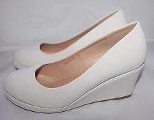 Zapatos de Novia Tacón Con Cuña en Blanco Cuero Óptica Sencillo Noble B8013 y-Sp