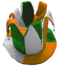 GREEN WHITE ORANGE JESTER HAT TRICOLOUR IRISH IRELAND FANCY DRESS ST PATRICK'S