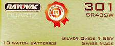 Sr43Sw 386 Sr43W 1.55v silver oxide cell New Seiko or Rayovac watch battery 301