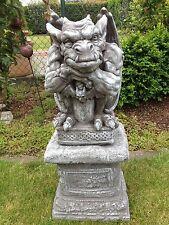 Gartenfigur Gargoyle Figur Steinfigur für Garten Deko Teich Fantasiefigur Sockel