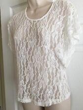 Ladies Cato White Lace Top Size Medium