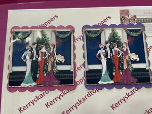 2 x Decoupage Pictures of CHRISTMAS Art Deco Theme Toppers