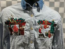 CHRISTMAS Fireplace Tree Family Room Button Up Shirt Men's Size S
