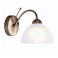 Searchlight Milanese 1 Light Antique Brass Wall Light With Alabaster Glass Shade