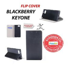 CUSTODIA COVER HORIZONTAL FLIP CASE ECO PELLE NERO PER BLACKBERRY KEYONE