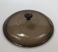 """Pyrex Vision Corning Medium 624C Amber Glass Round 8.75"""" Replacement Lid AA"""