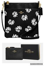 🎄NEW NWT🎄COACH KITT FLORAL CROSSBODY HANDBAG + SLIM MINI ID COIN PURSE