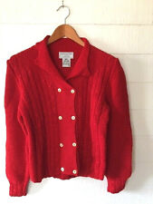 Women's South Cotton Knitted By Hand Chunky Red Cardigan Sweater (SIZE S) VG