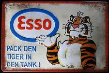 ESSO - TIGER im TANK , BENZIN , KRAFTSTOFF , BLECHSCHILD