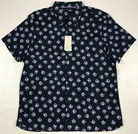 Mens Perry Ellis Dress Shirt Size Big Tall 2X Blue Sapphire Stretch Rose Print