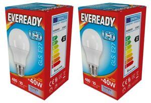 "x 2 Eveready 5.5w (=40w) LED Opal GLS Bulb €"" Edison Screw (ES) Daylight White"
