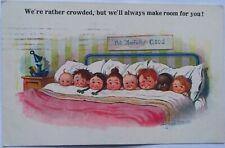 LITTLE CHILDREN Boys Girls in BED Lamp DONALD McGILL Colour PC Eastbourne 1927