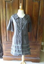 MARNI gray button up dress with collar & pockets lace accent size XS or S