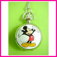Mickey Mouse Boy Child Kid Fashion Pocket Pendant Watch Stainless Metal Necklace