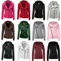 Women Zipper Up Jumper  Hoodies Hooded Sweatshirt Ladies Hoody Jackets Coats