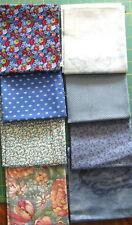 Lot 2, (8) Cotton Fat Quarters Blues, Dots, Florals, Marbles