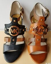 Michael KORS RUSTIN ANKLE STRAP MK LOGO BLACK BROWN CUTE SANDALS I LOVE SHOES