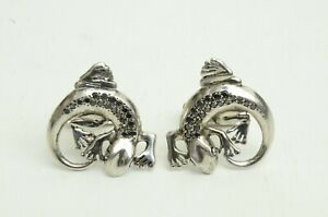 Authentic Dunhill Reptile Cufflinks 925 Silver Black Diamond Clothing Accessory