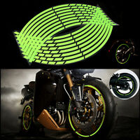 10''Green Motorbike Car Reflective Rim Tape Wheel Sticker Trim Motorcycle Decals