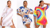 Women Rainbow Loose Oversized Boyfriend Shift Dress Casual Long Tops T Shirt Tee