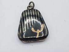 Art Deco Chatelain Anhänger Medaillon aus Silber Niello Tula Silber mit Gold #1