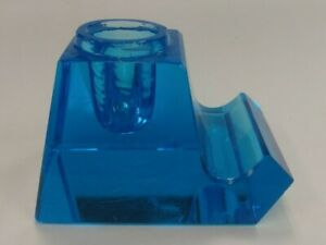 Vintage Blue Glass Inkwell with Built-in Pen Tray